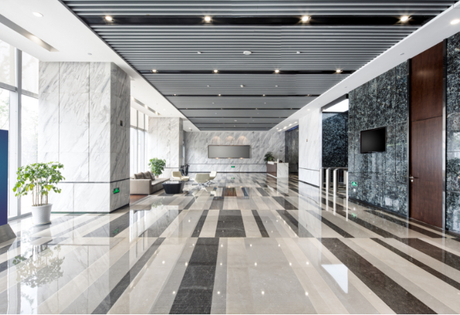 Corporate office with remodeled flooring
