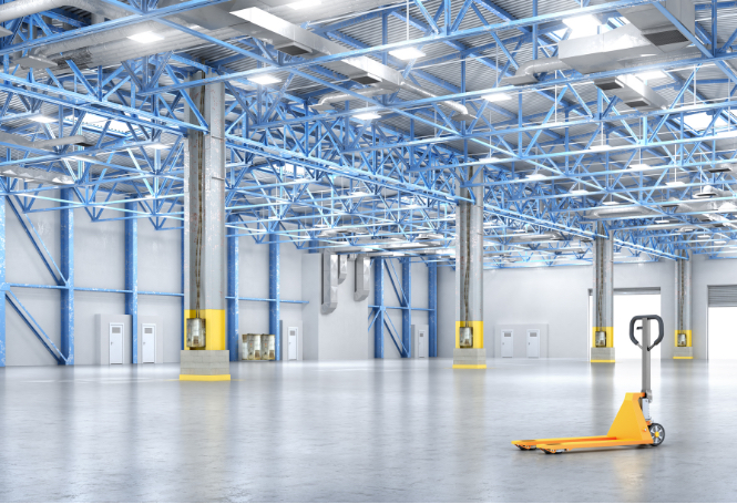 Large industrial space with cement floors