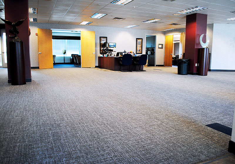 Old carpet flooring at Colonial Insurance