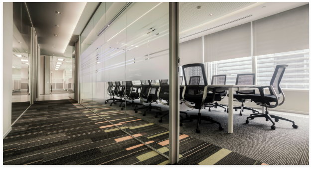 Commercial office space with patterned carpet